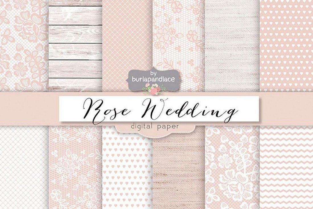 Rose Pale Wedding Digital Paper Backgrounds