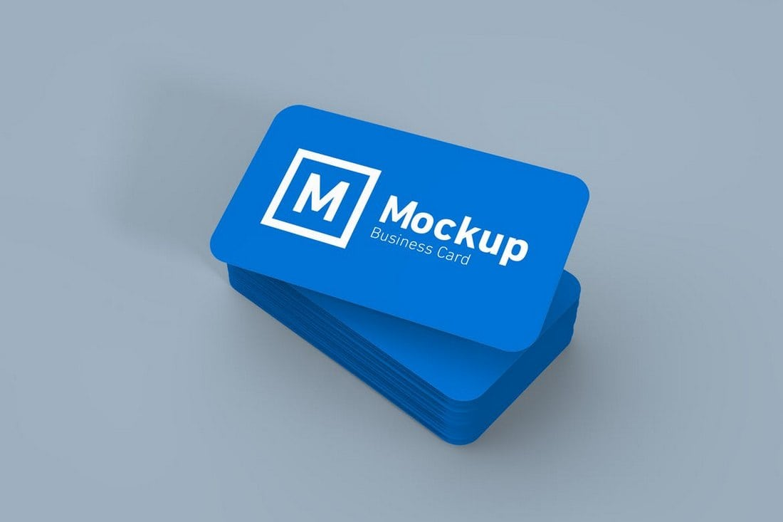 Round Edges Business Card Mockup