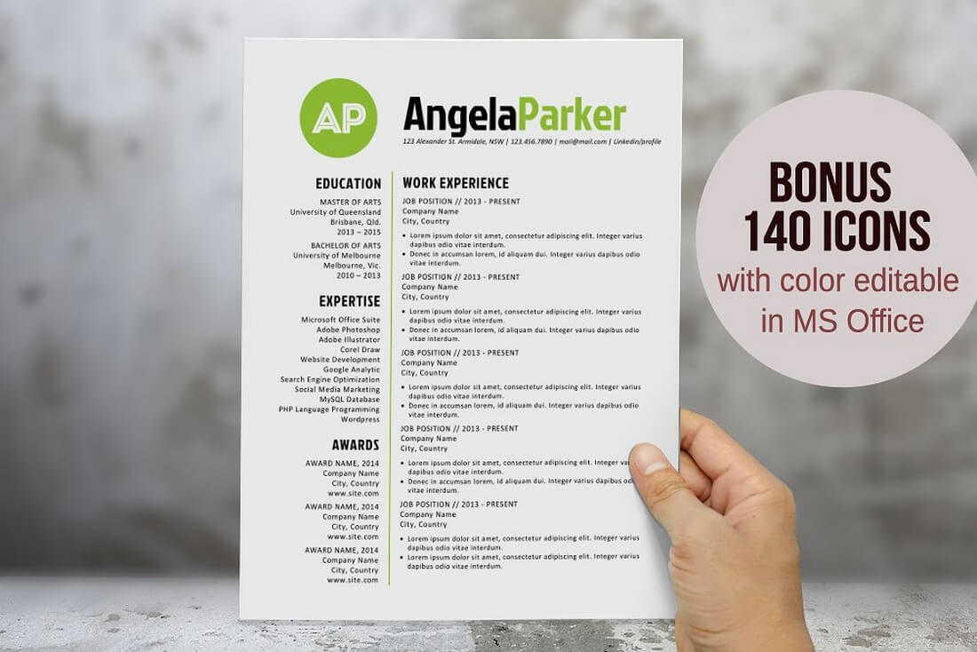 Round Bold Initials Resume Template  Simple Resume Template Free Download