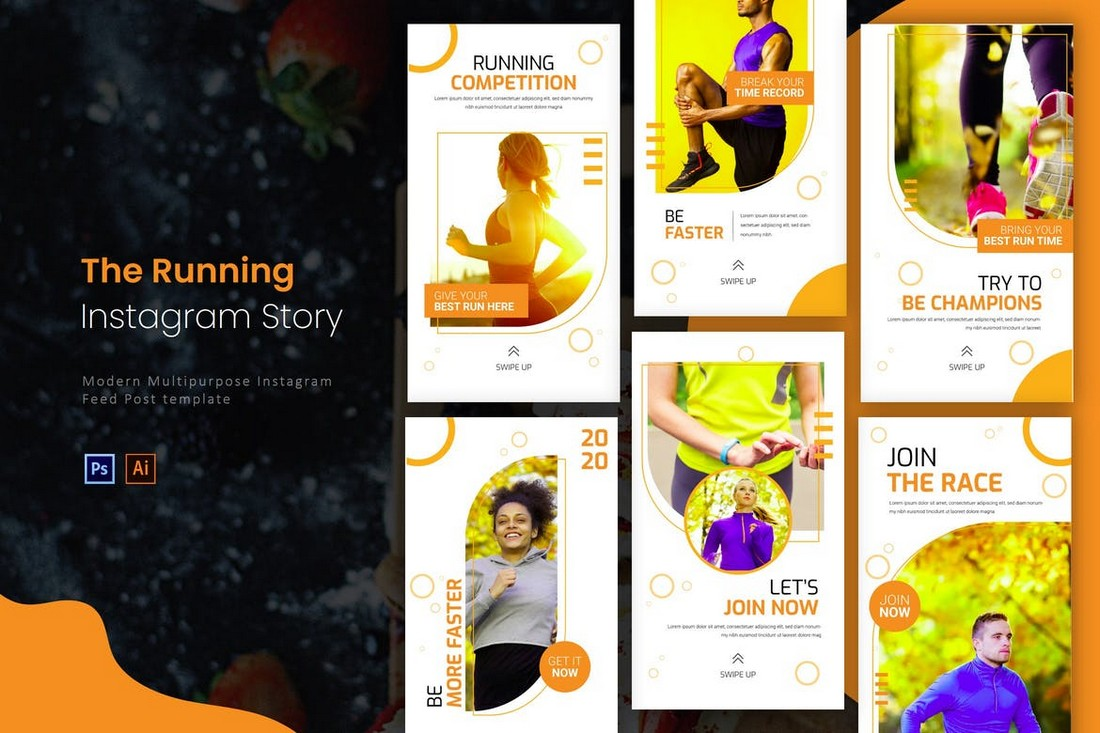 Running Competition Instagram Story Templates