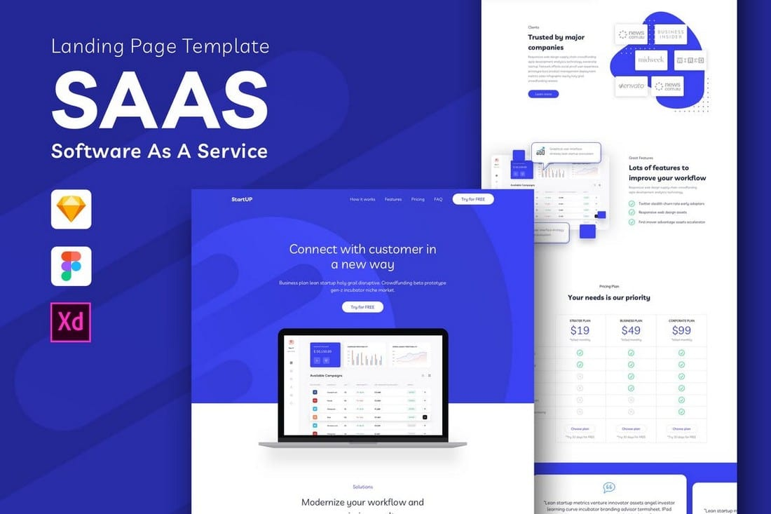 SAAS - Landing Page Template for Sketch
