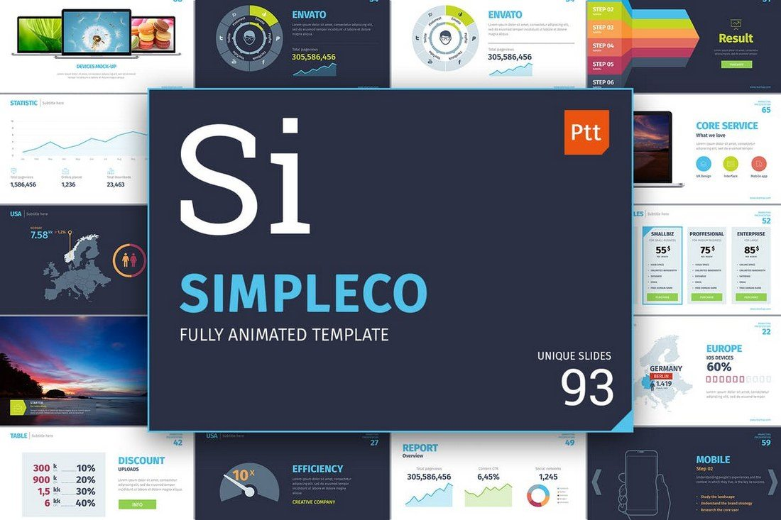 20 best powerpoint templates of 2018 design shack simpleco is a powerful powerpoint template you can use to design a slideshow for a marketing seo and web design related presentations alramifo Choice Image