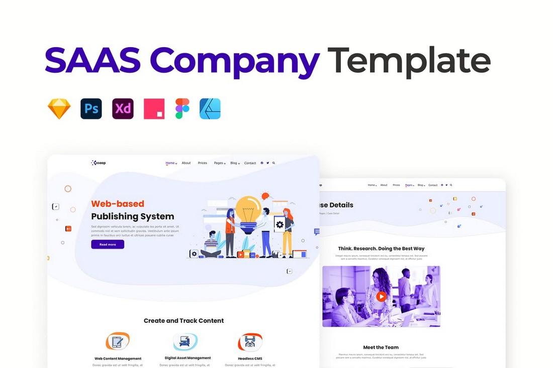 SaaS Website Template for Affinity Designer
