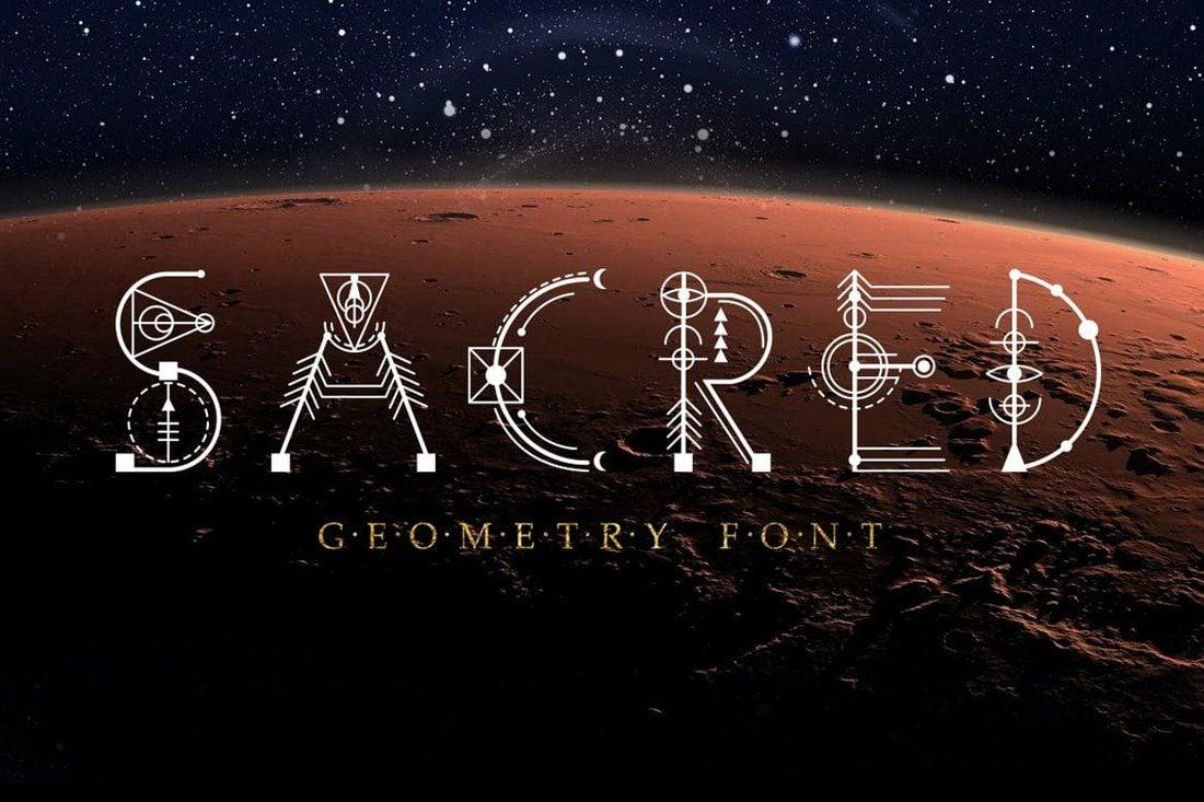 Sacred-Geometry-Font 30+ Best Modern & Futuristic Fonts 2021 design tips