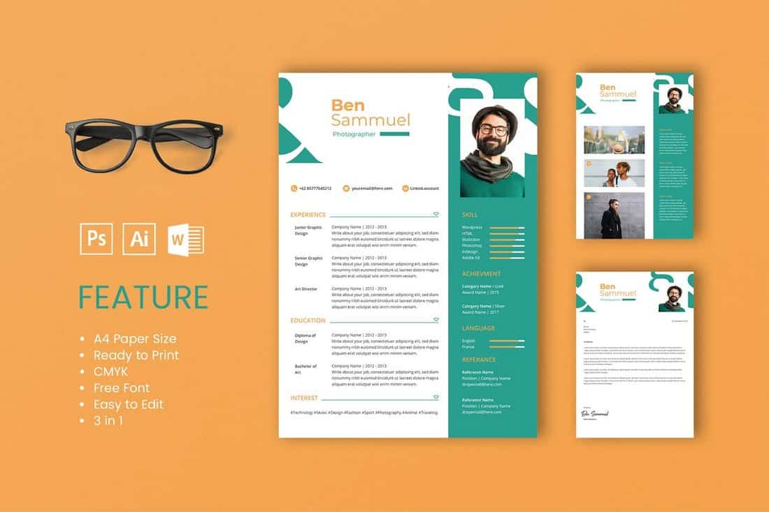 Sam-Professional-CV-And-Resume-Template 50+ Best CV & Resume Templates 2020 design tips