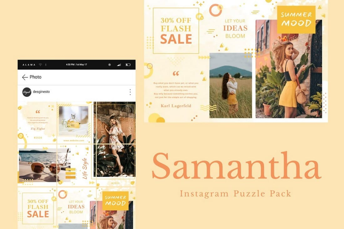 Samantha-Instagram-Puzzle-Pack 40+ Best Social Media Kit Templates & Graphics design tips  Inspiration|facebook|social media|twitter