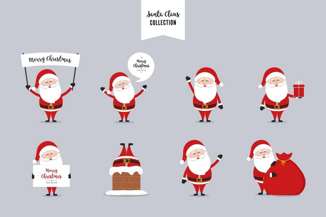 Santa-Claus-Christmas-Vector-Collection 70+ Christmas Mockups, Icons, Graphics & Resources design tips