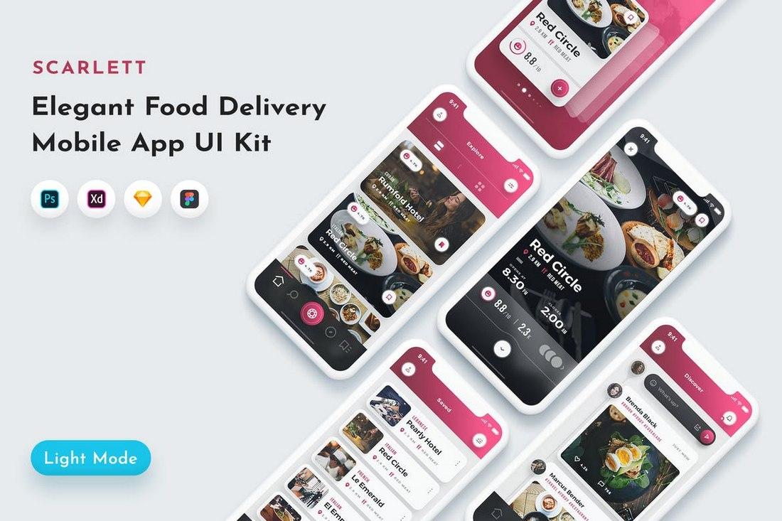 Scarlett - Food App UI Kit for Adobe XD