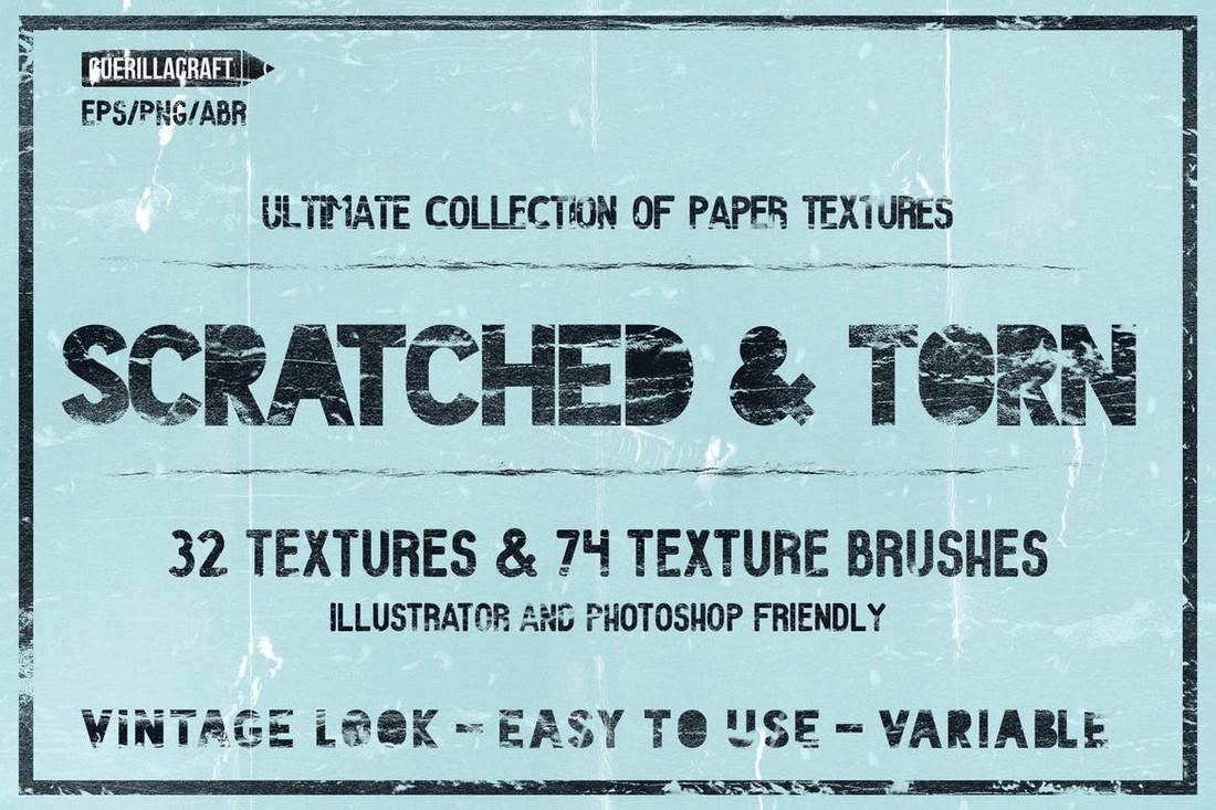 Scratched & Torn Vintage Paper Textures