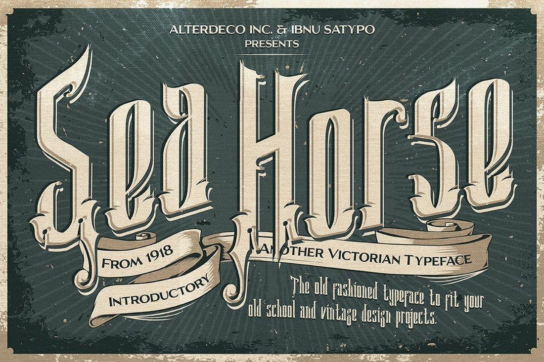 Sea Horse - Vintage Decorative Font
