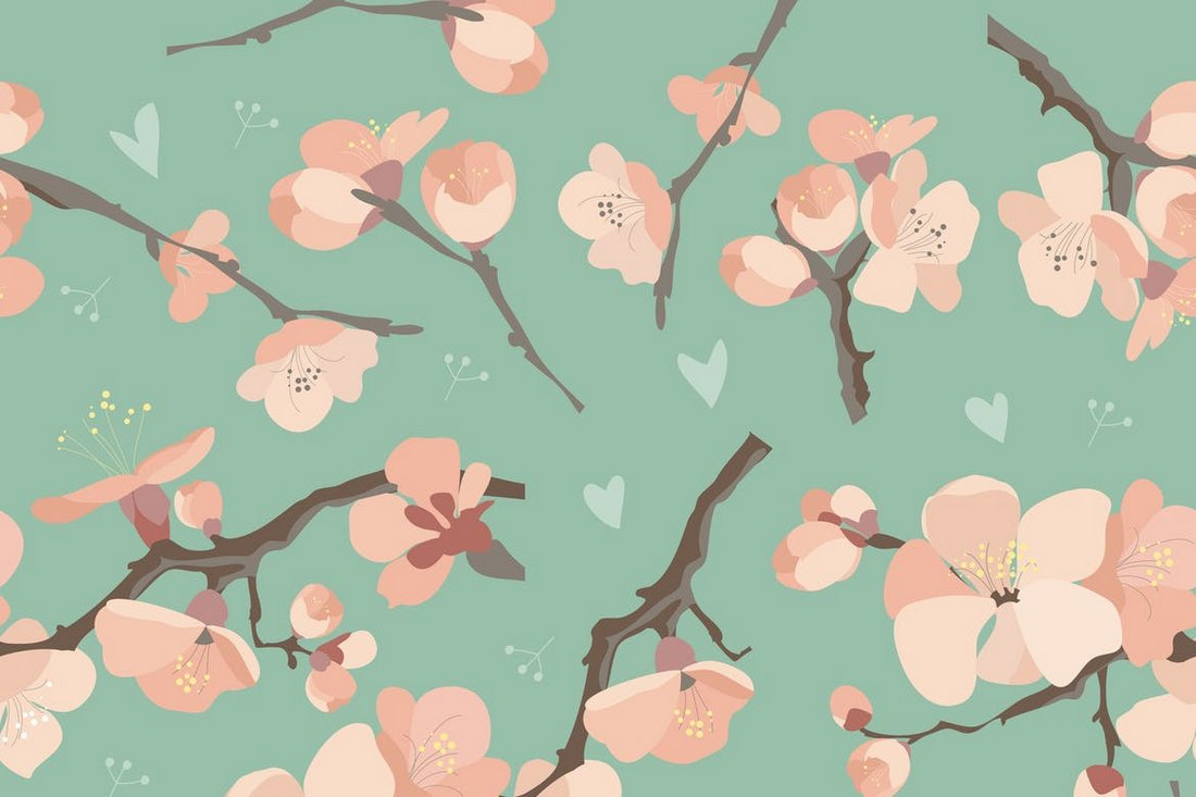 Seamless Spring Flowers Pattern