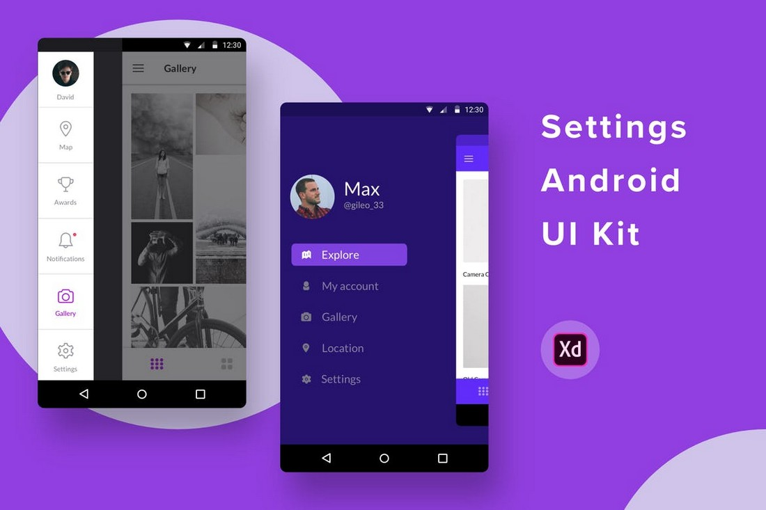 Settings-Android-UI-Kit-for-Adobe-XD 30+ Best Adobe XD UI Kits + Templates 2020 design tips