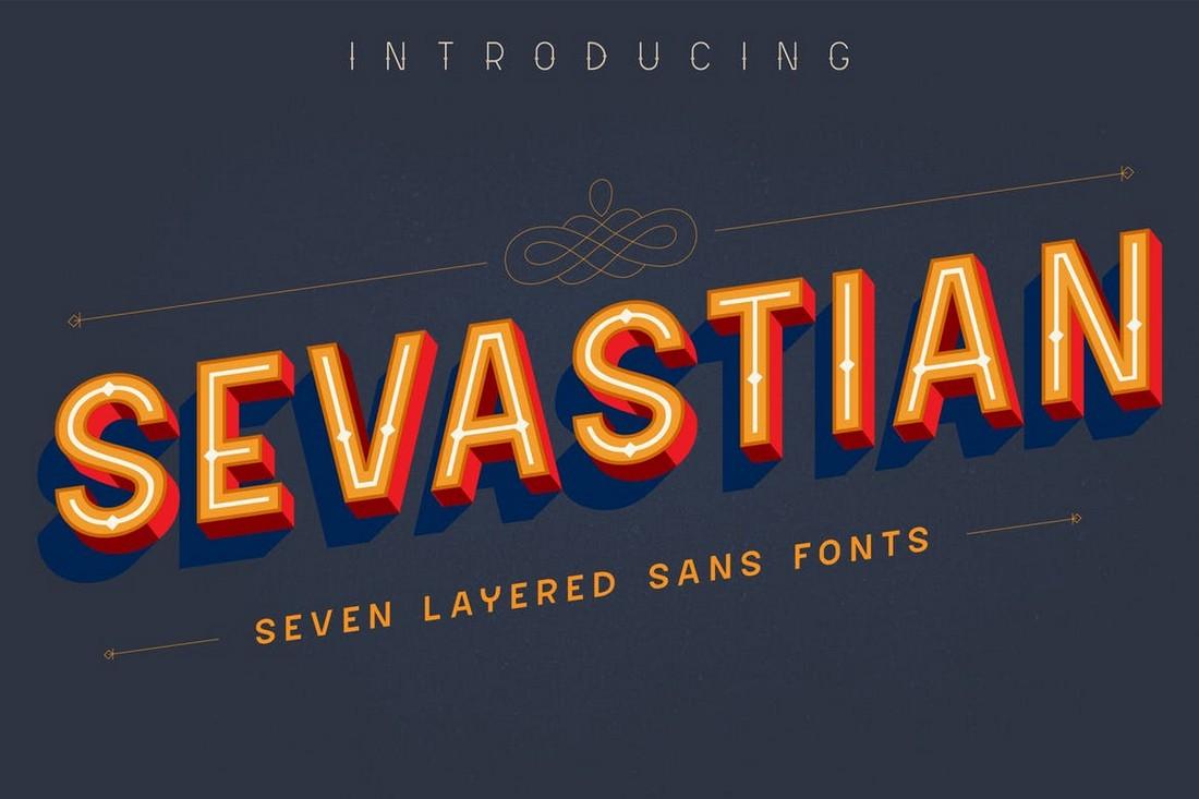 Sevastian - Layered 3D Font