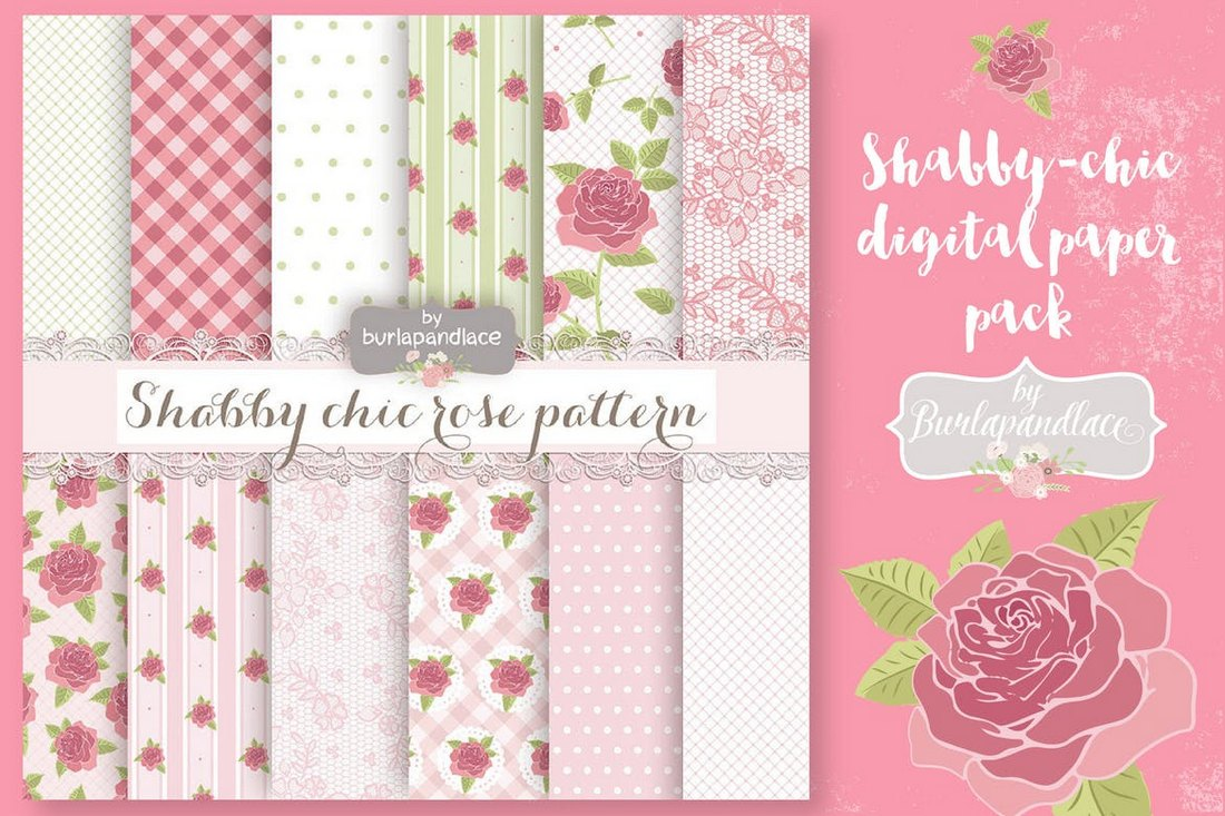 Shabby Chic - Digital Paper Floral Backgrounds