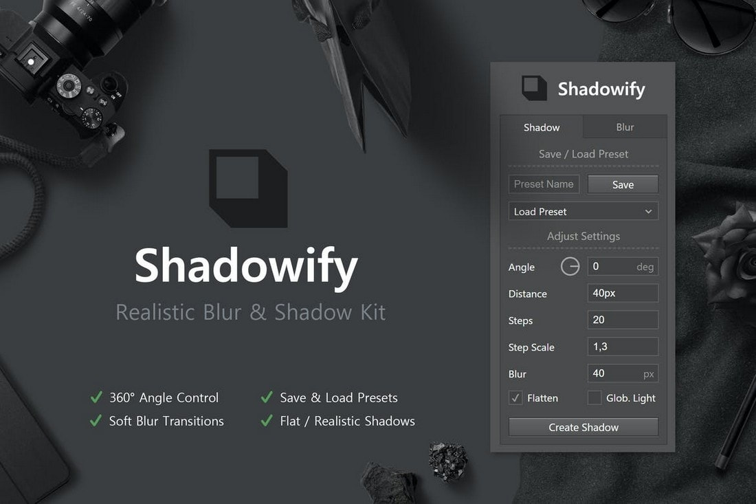 Shadowify-Realistic-Blur-Shadow-Kit 20+ Best Photoshop Filters + Plugins 2020 (+ How to Use Them) design tips