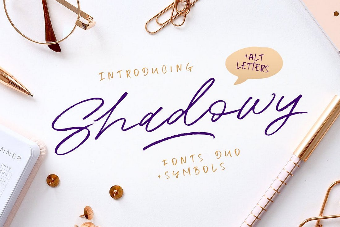 Shadowy-Script-Cursive-Font 50+ Best Hand Lettering & Handwriting Fonts 2021 design tips