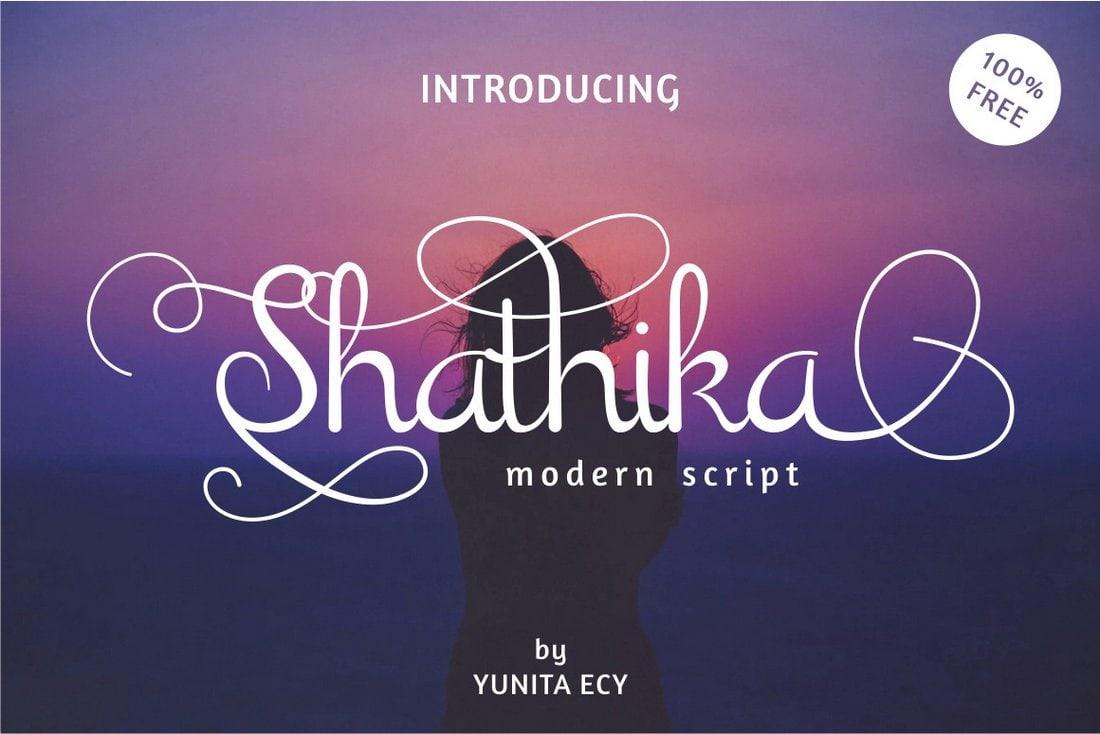 Shathika - free modern italic font