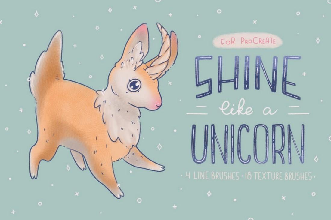 Shine Like a Unicorn - Procreate Texture Brushes