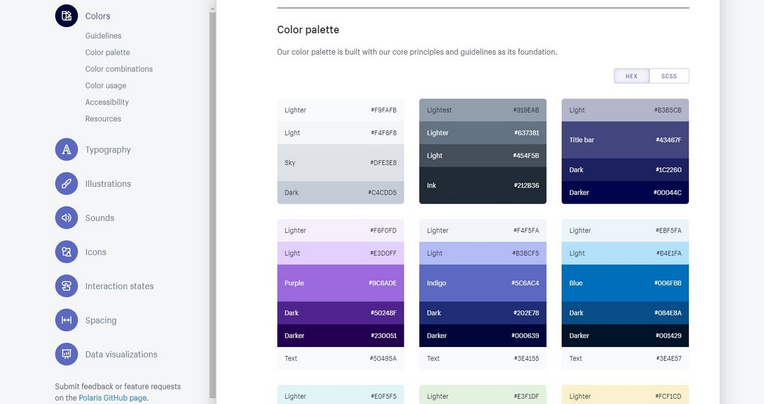 Shopify-Polaris What Is a Design System & Why Use Them + Examples design tips