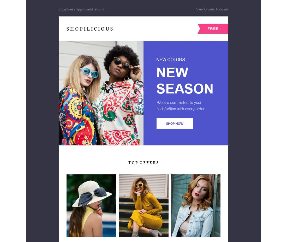 Shopilicious-Free-HTML-Email-Template 40+ Modern Responsive Email Templates 2021 design tips