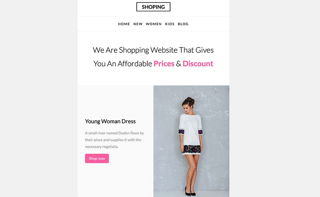 Shopping-Free-eCommerce-Email-Template 20+ Best MailChimp Email Newsletter Templates (Free + Premium) 2021 design tips