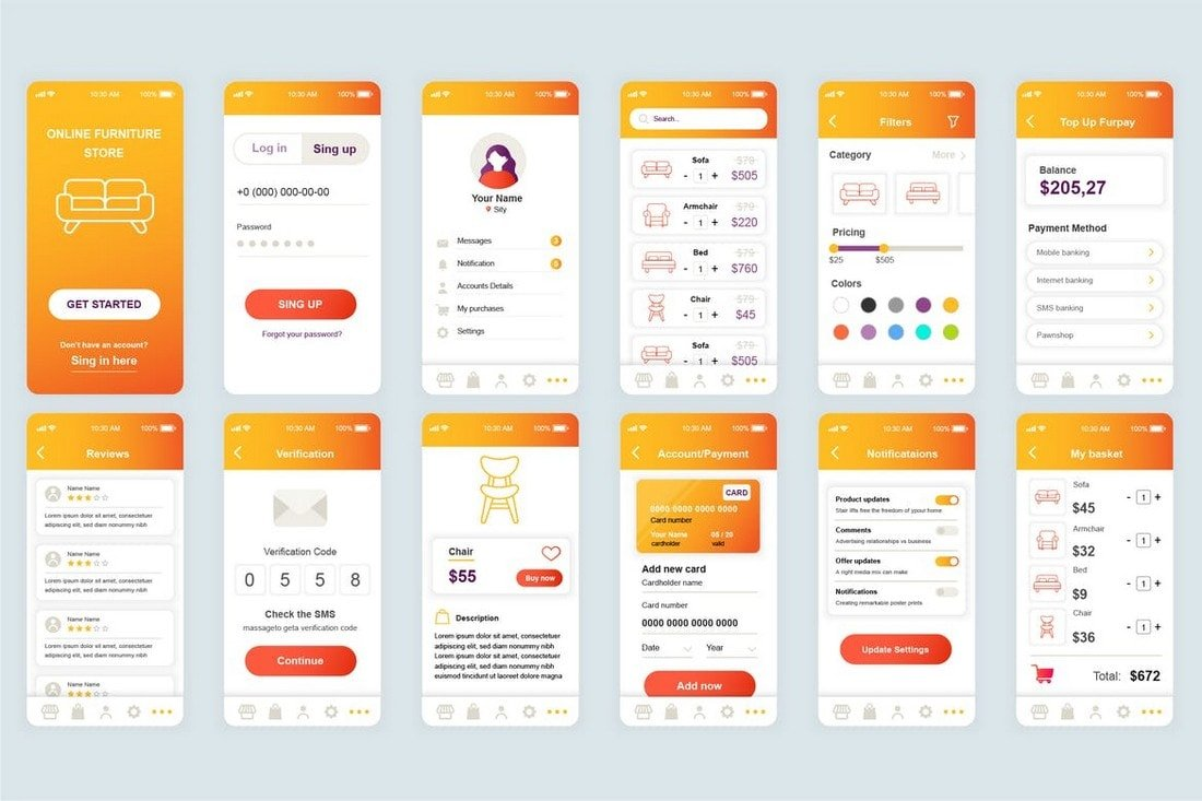 Shopping-Mobile-App-UI-Screens-Templates 25+ Best Mobile App UI Design Examples + Templates design tips  Inspiration