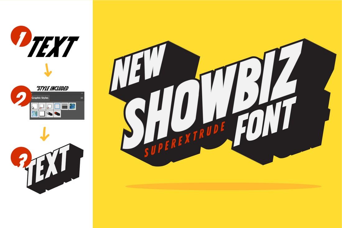 Showbiz - Extrude 3D Layered Font