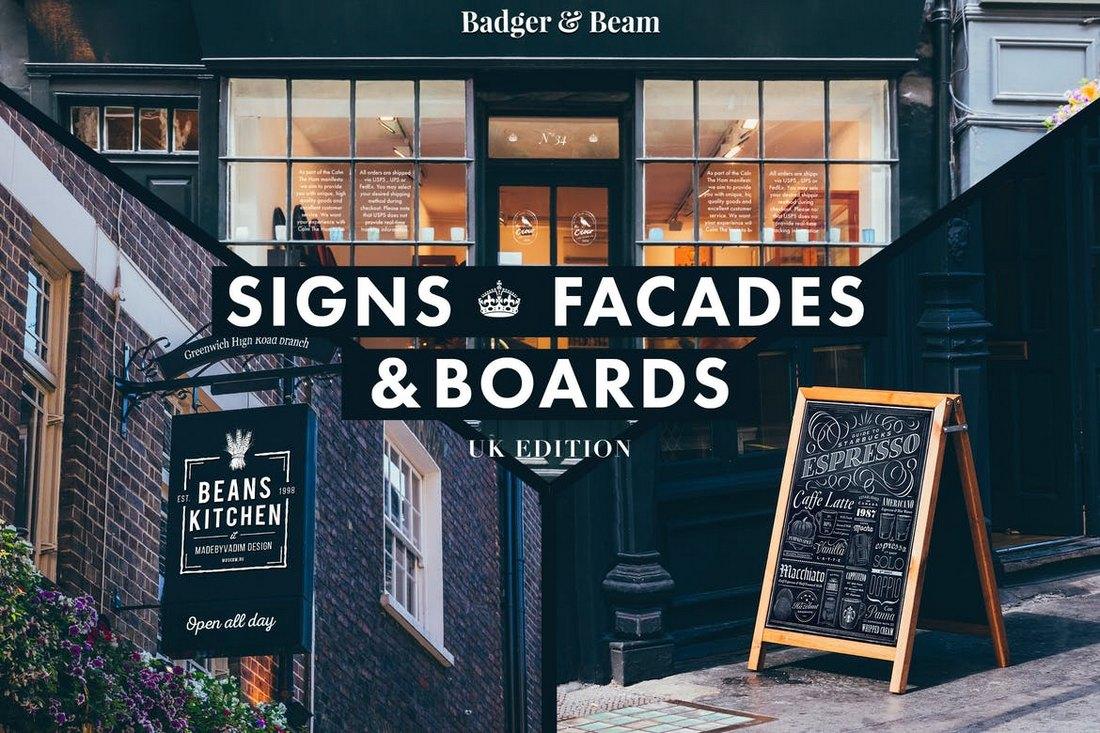 Signs-Facades-Mockups-UK-edition 20+ Best Sign Templates & Mockups design tips