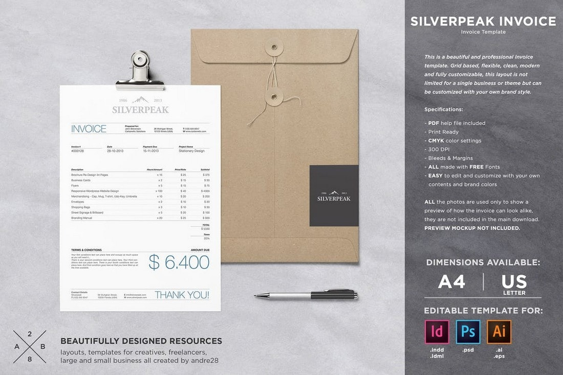 Silverpeak-Professional-Invoice-Template 20+ Best Invoice Templates for InDesign & Illustrator (Free + Premium) design tips