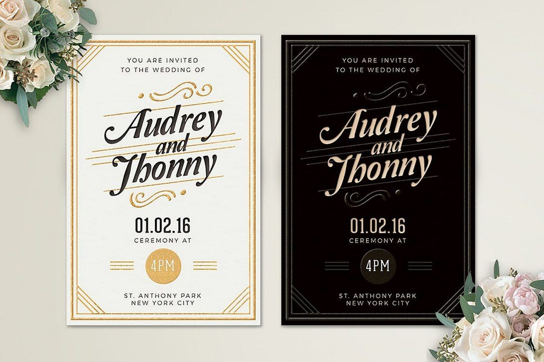 50 wonderful wedding invitation card design samples design shack this simple wedding invitation template features a retro inspired design that gives a more elegant look to your invitation card stopboris Gallery
