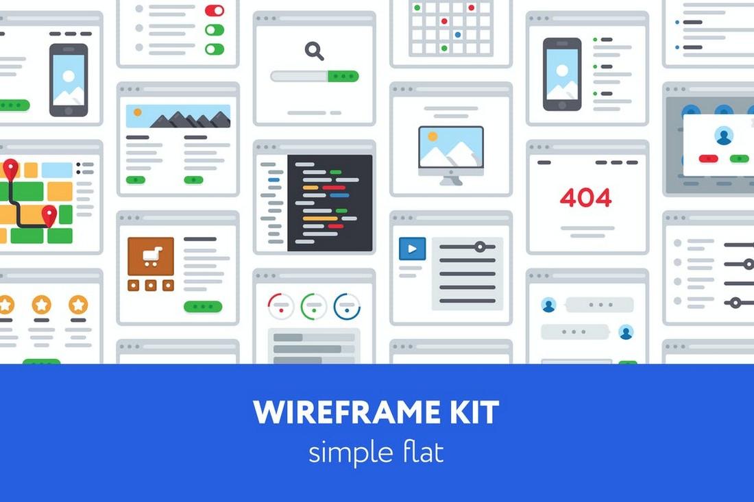 Simple Flat UX Wireframe Kit