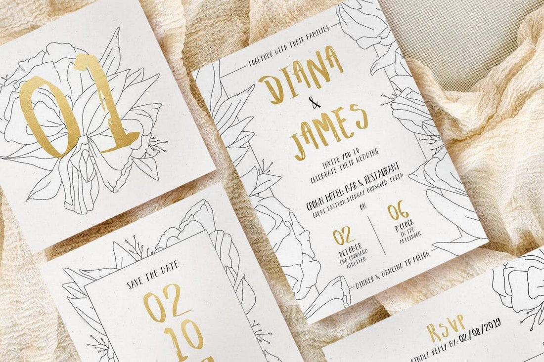 Simple-Floral-Outline-Wedding-Templates 15+ Gorgeous Save the Date Wedding Templates design tips