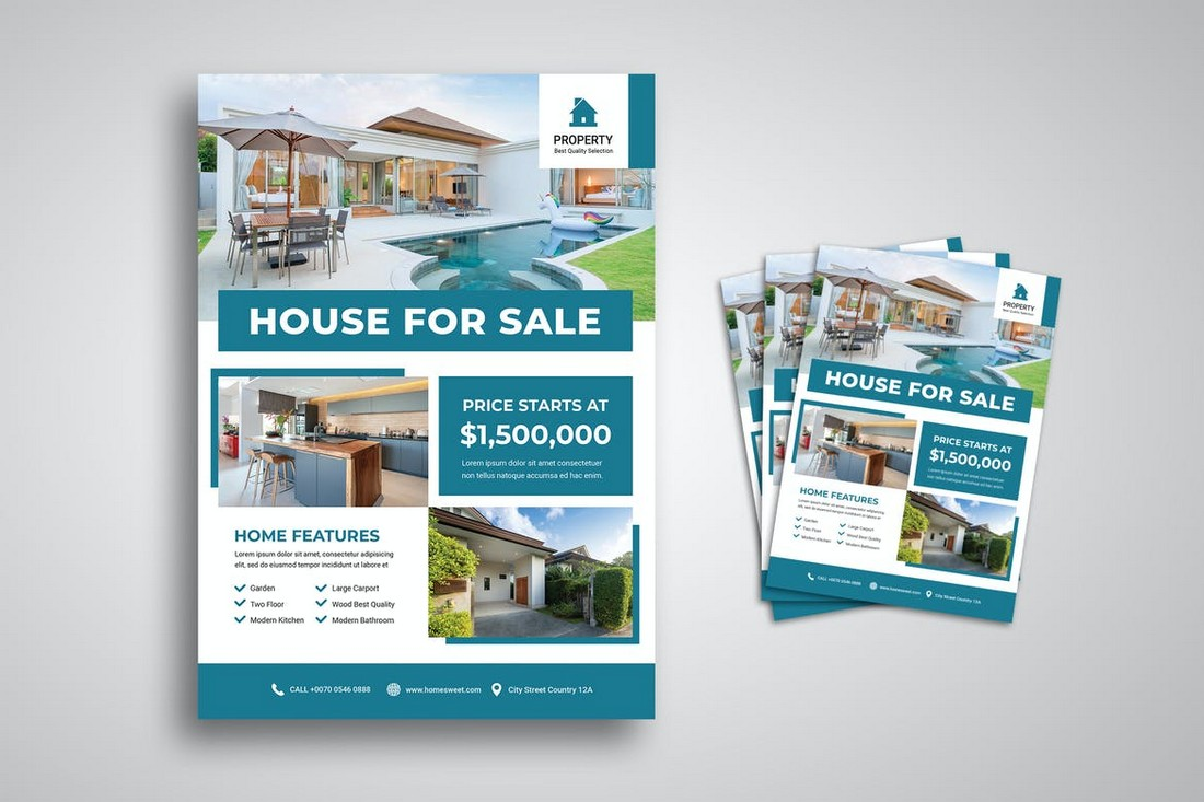 Simple House For Sale Flyer Template