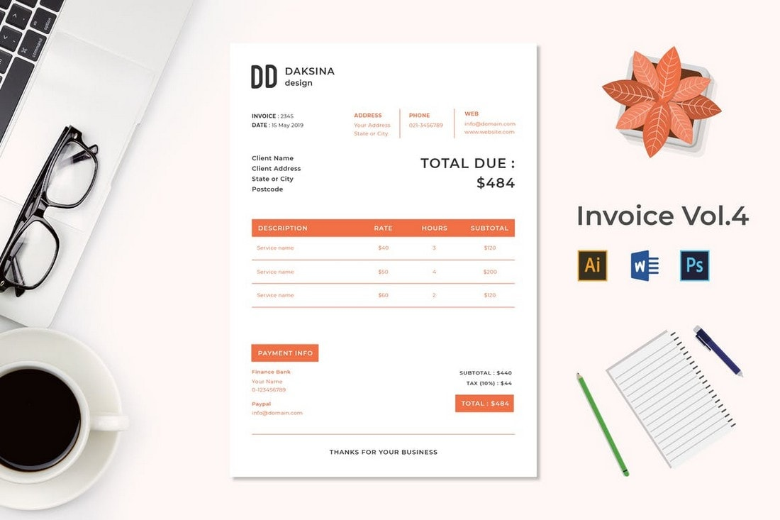 Simple-Invoice-Template-For-Freelancers 20+ Best Invoice Templates for InDesign & Illustrator (Free + Premium) design tips  Inspiration