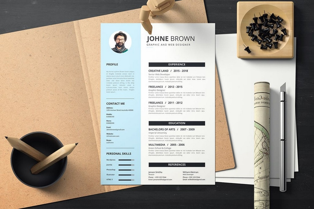 Simple-Modern-Resume-Template 50+ Best CV & Resume Templates 2020 design tips