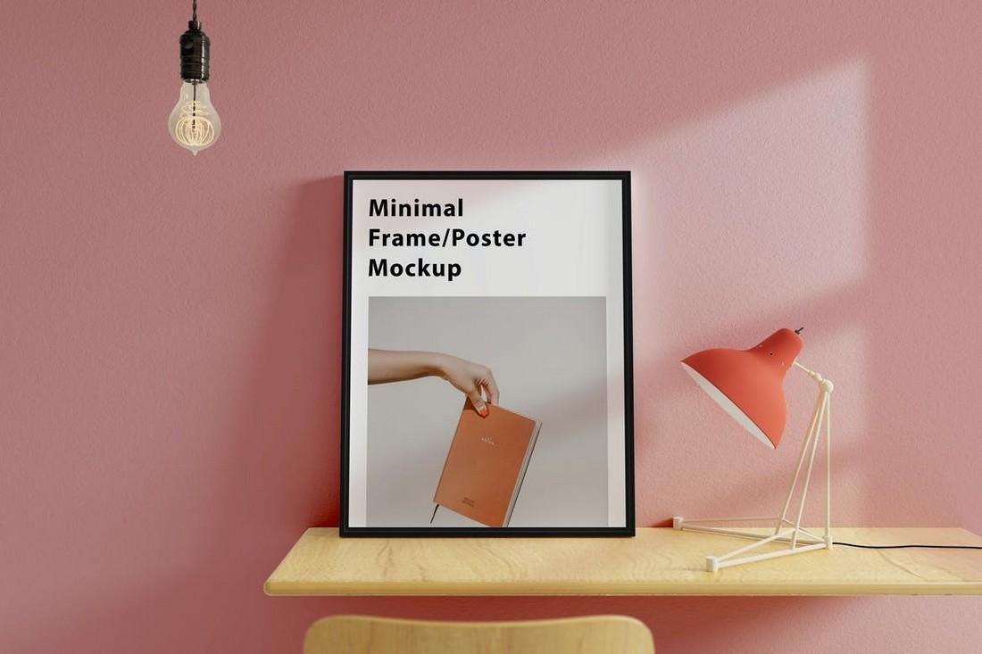 Simple Poster Frame Mockup Scene