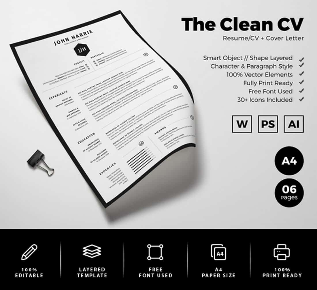 Simple Resume CV Word Template