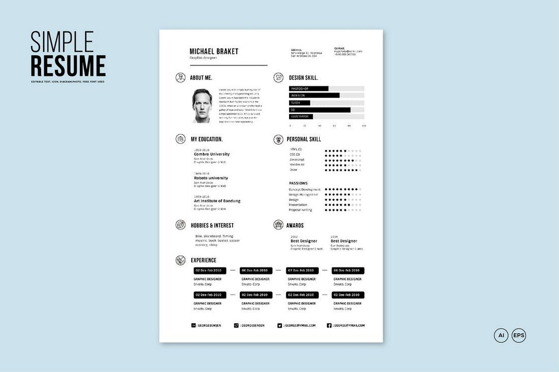 Simple-Resume-Template 50+ Best CV & Resume Templates 2020 design tips