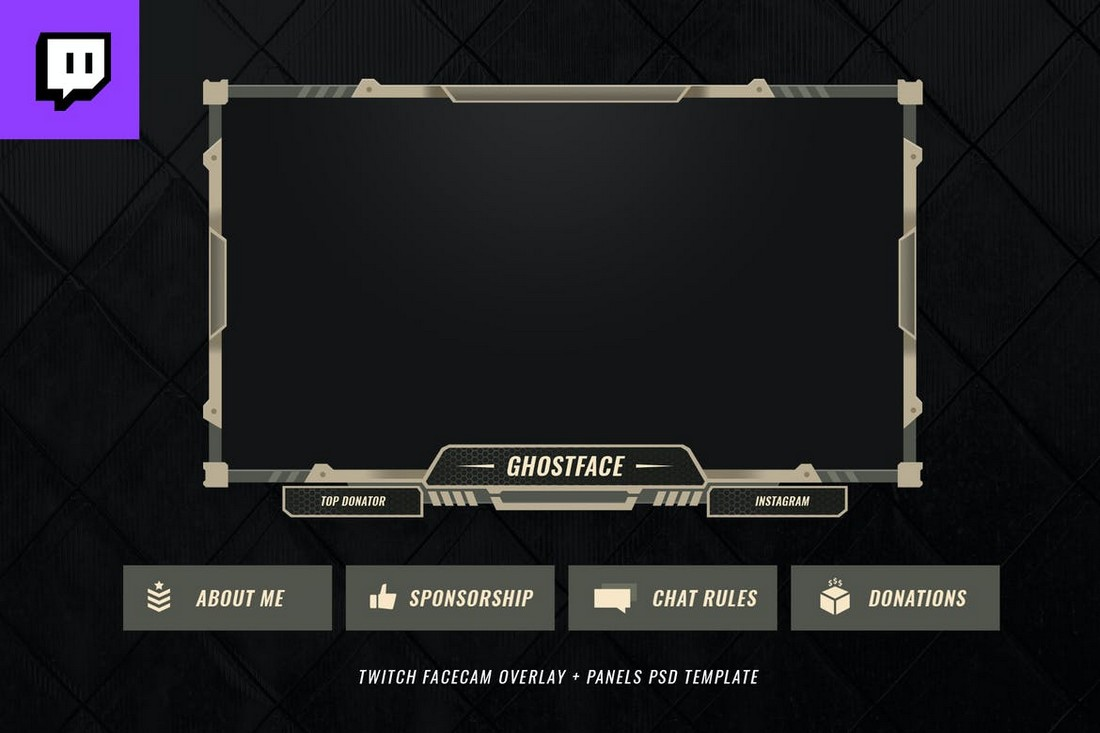 Simple-Twitch-Facecam-Overlay-Template 15+ Best Twitch Stream Overlay Templates in 2020 (Free & Premium) design tips