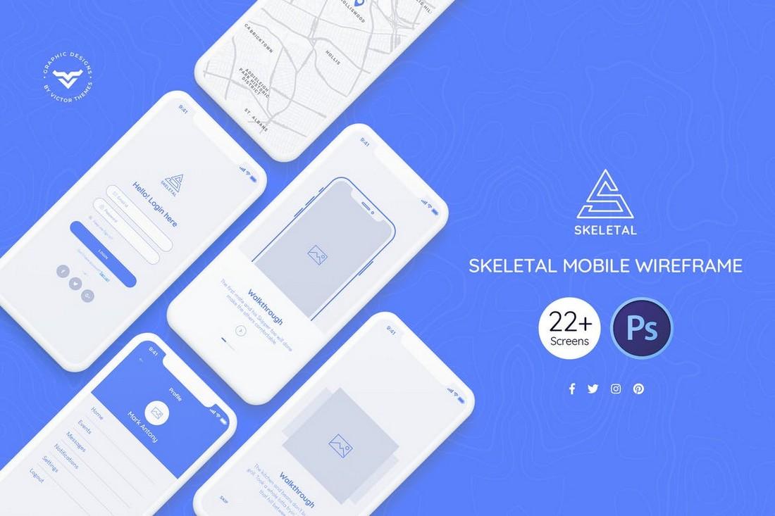 Skeletal - Mobile Wireframe Kit PSD