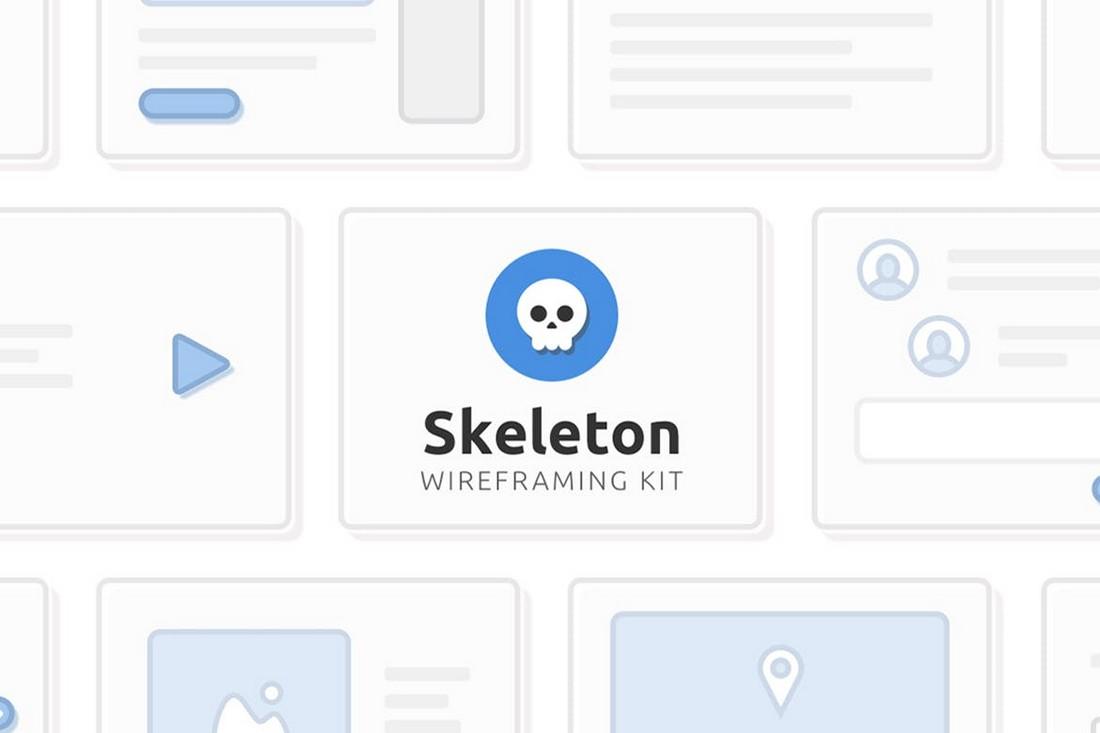 Skeleton Wireframing Kit Sketch & PSD Templates