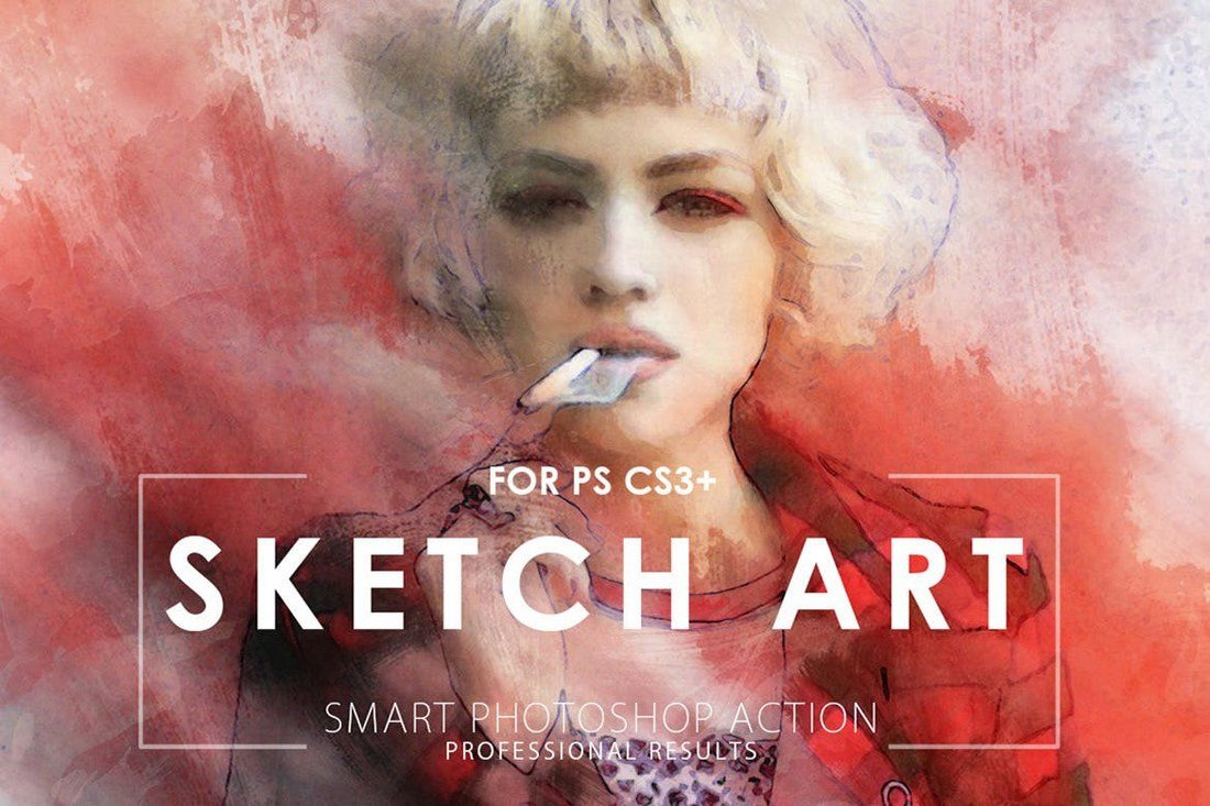Sketch-Art-Potoshop-Action 20+ Best Watercolor Photoshop Actions design tips