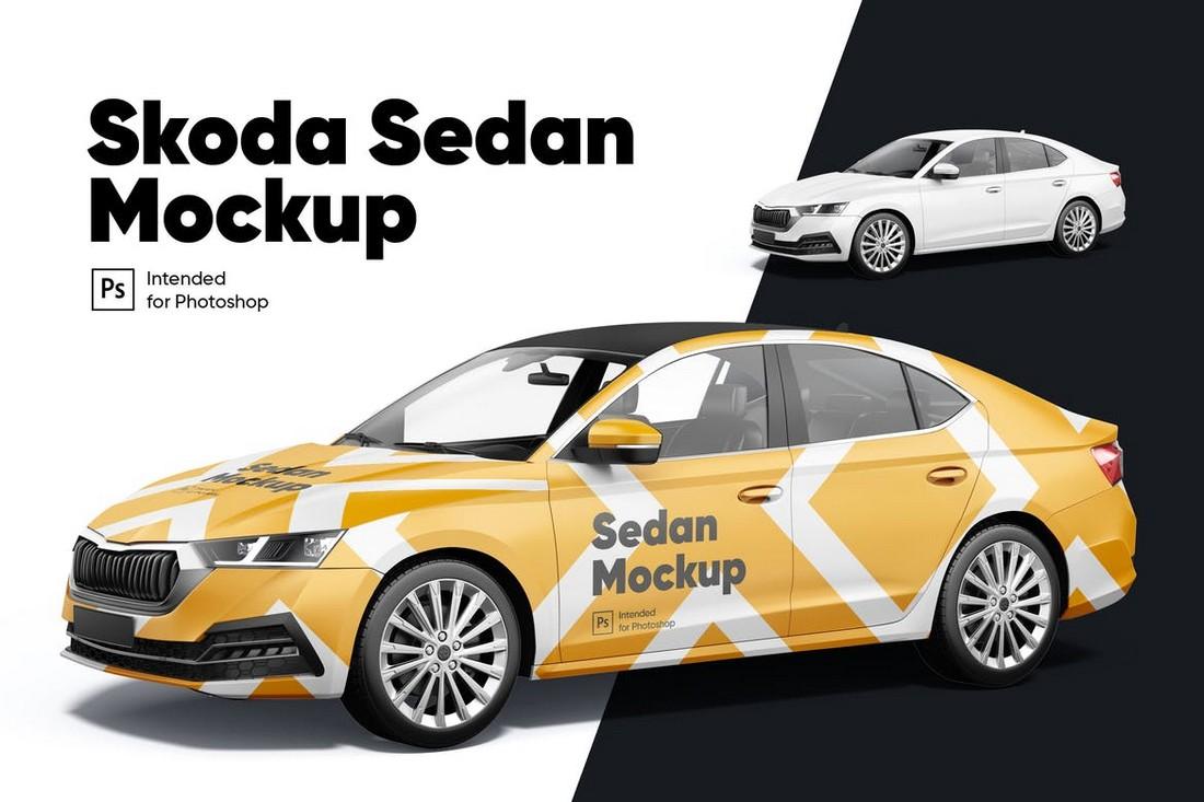 Skoda Sedan Car Decal Mockup