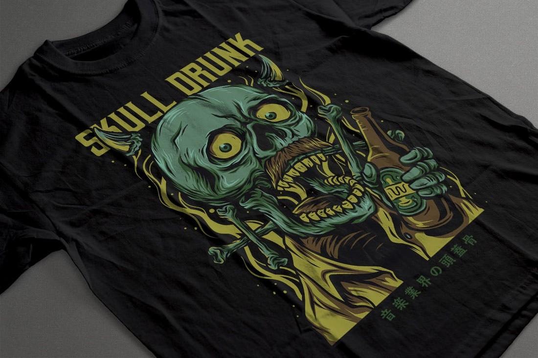 Skull Drunk - Fun T-Shirt Design