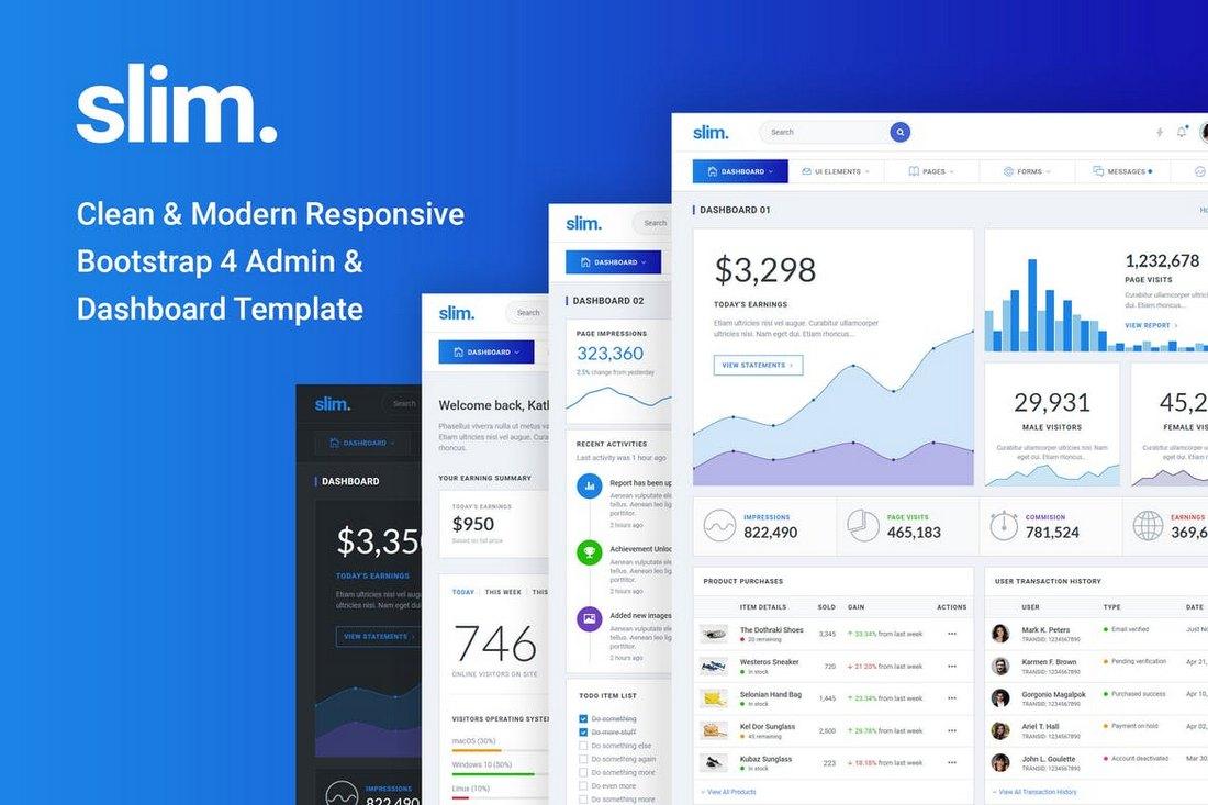 Slim Clean & Modern Bootstrap 4 Admin Template