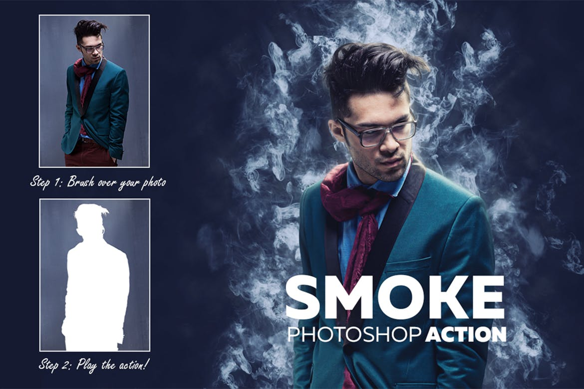 30 best photoshop actions of 2018 design shack add a realistic smoke effect to your photos using this simple photoshop action it comes with 5 different brushes that allows you to easily apply the smoke baditri Choice Image