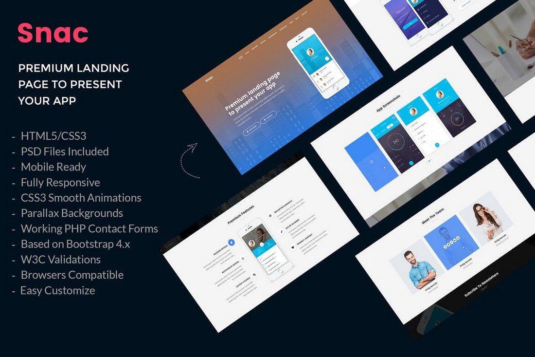 Snac-Premium-App-Landing-Page 50+ Best App Landing Page Templates 2021 design tips