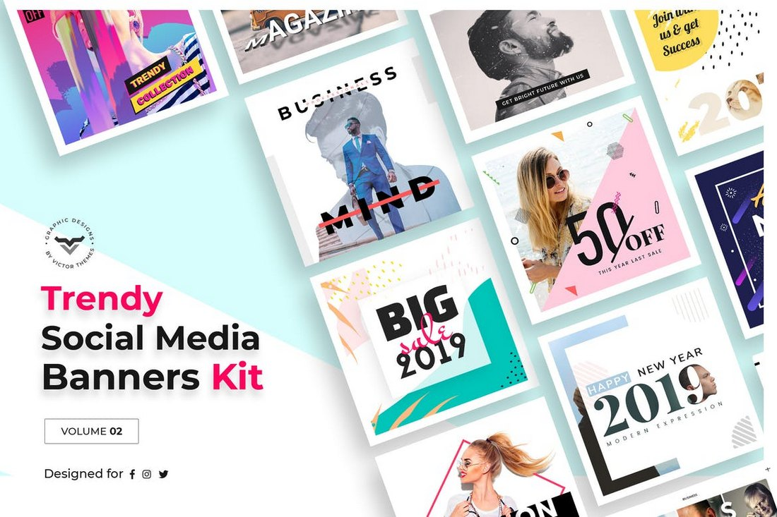 Social-Media-Templates-Kit-Volume-II 20+ Best Social Media Kit Templates & Graphics design tips