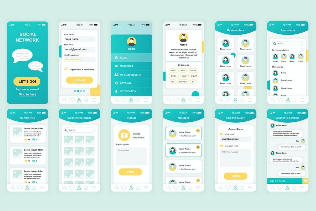 Social-Network-Mobile-App-UI-Templates 25+ Best Mobile App UI Design Examples + Templates design tips  Inspiration