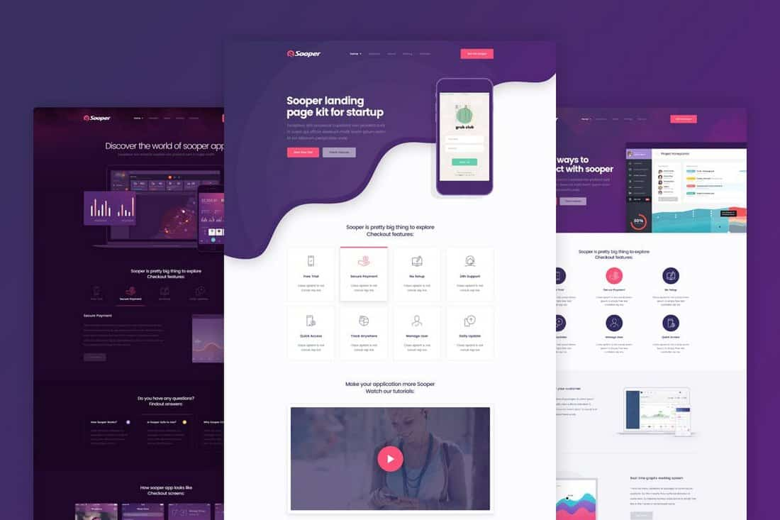 Sooper-App-Software-Landing-Page-Template 50+ Best App Landing Page Templates 2021 design tips